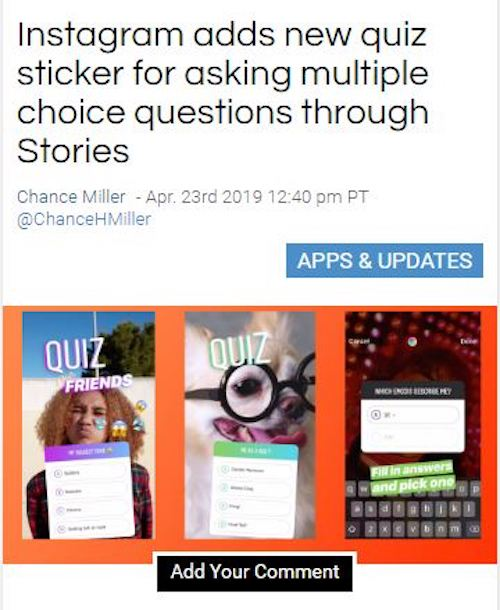 3. Instagram stickers get Quiz option with multiple choice answers