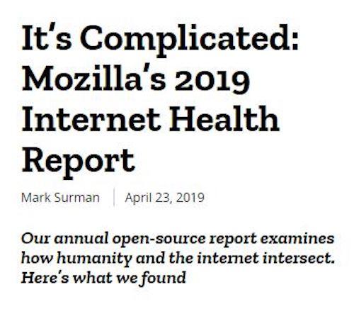 4. Mozilla releases The Internet Health Report 2019