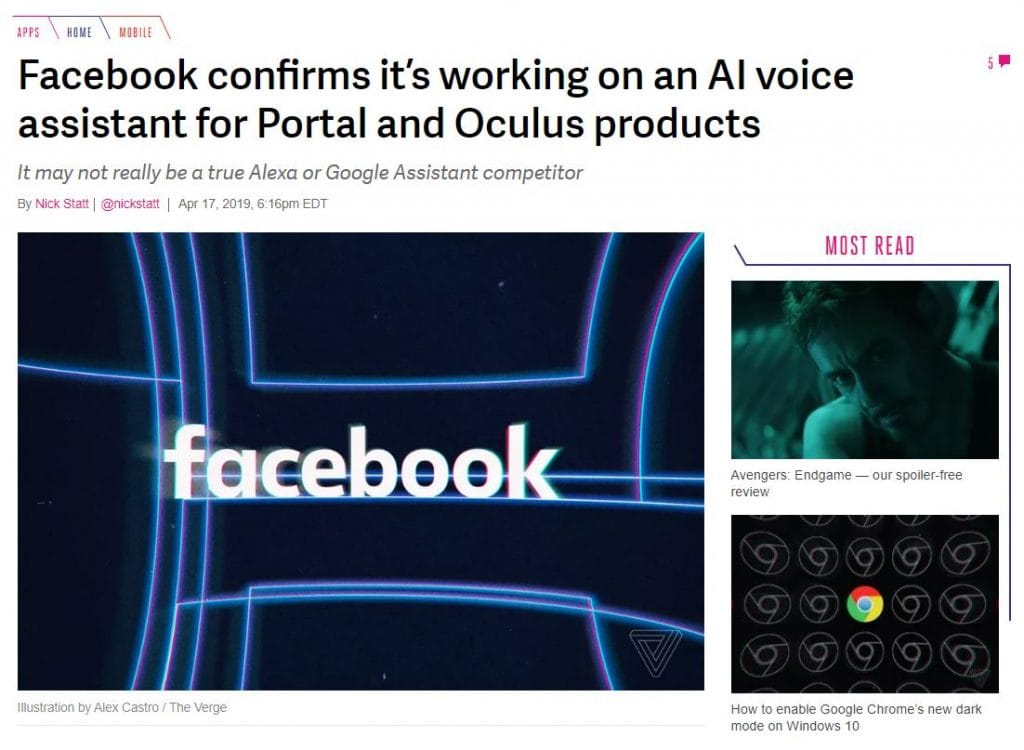 Social Media News by Natchi Lazarus - Facebook confirms working on its own A.I. based voice assistant