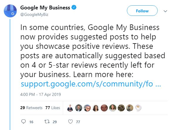 Social Media News by Natchi Lazarus - Google My Business will let you showcase positive reviews in the posts