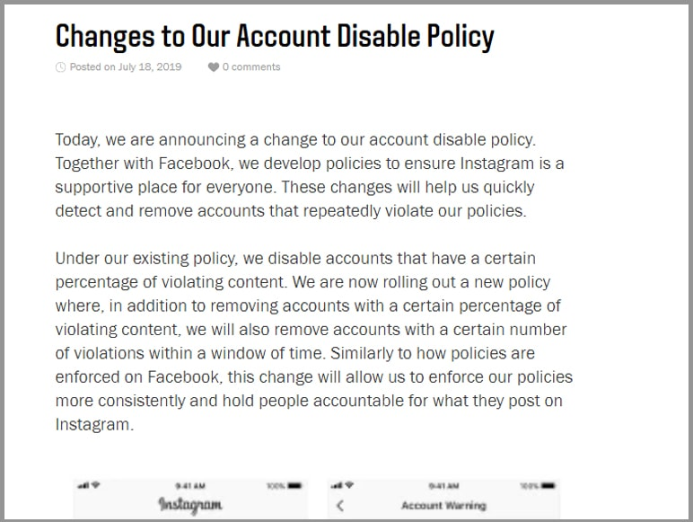 News 2 - Instagram makes changes to its 'Account Disable' policy