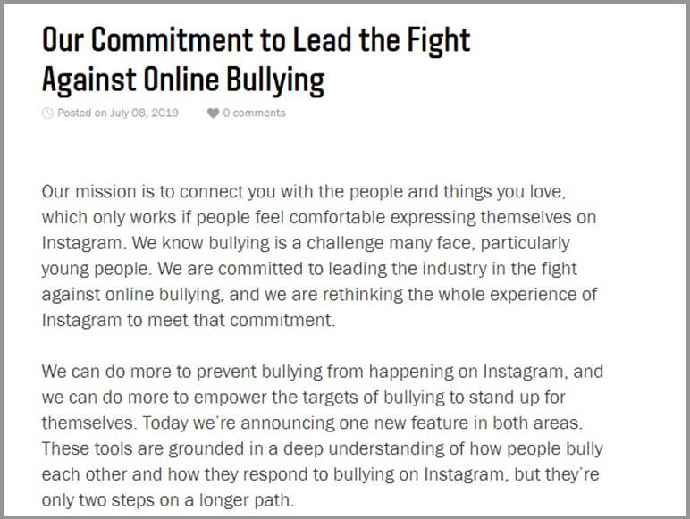 Instagram on Online Bullying