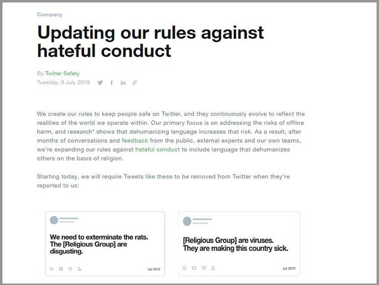 Twitter bans hate speech against religious groups
