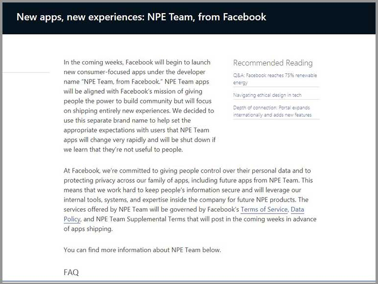 Facebook to release new apps on an experimental basis