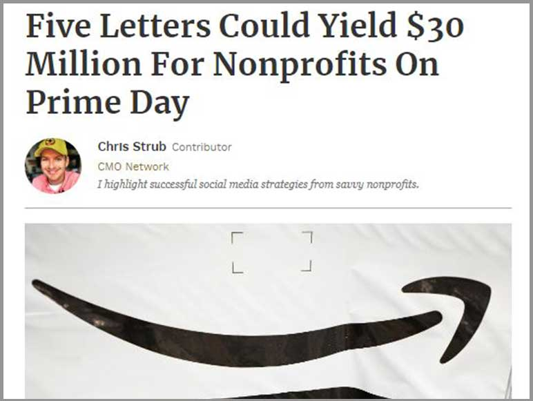 Nonprofits could benefit on Amazon Prime Day, through AmazonSmile