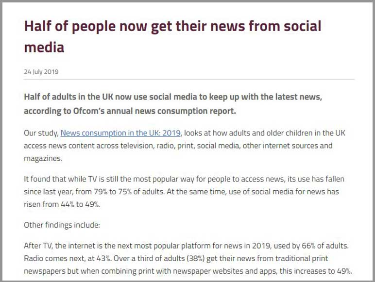 Ofcom report says that almost half of UK adults get their news from Social Media