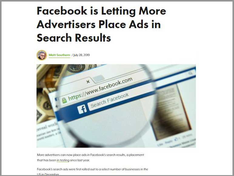 Facebook opens up 'Search' ads placement option to more advertisers