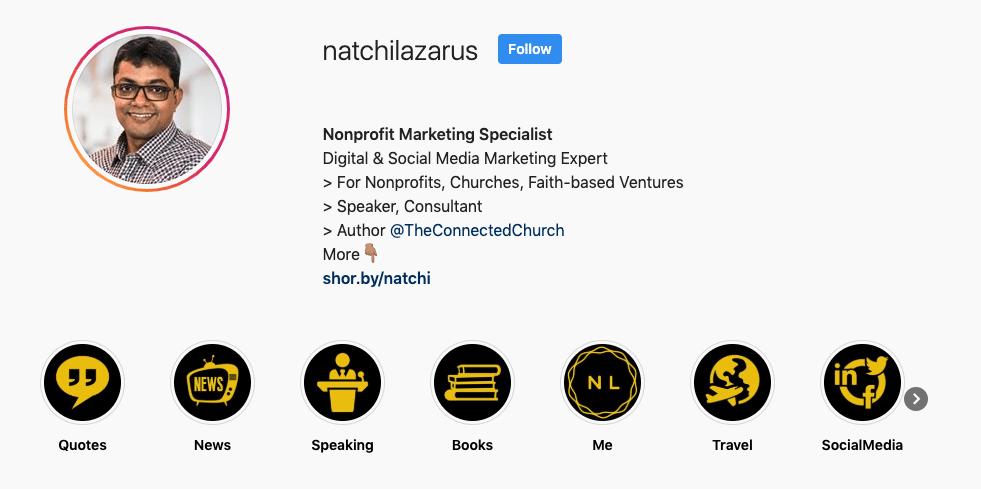 Natchi Lazarus Instagram Bio