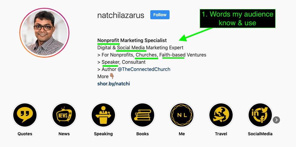 Natchi Lazarus Instagram Bio Words Used