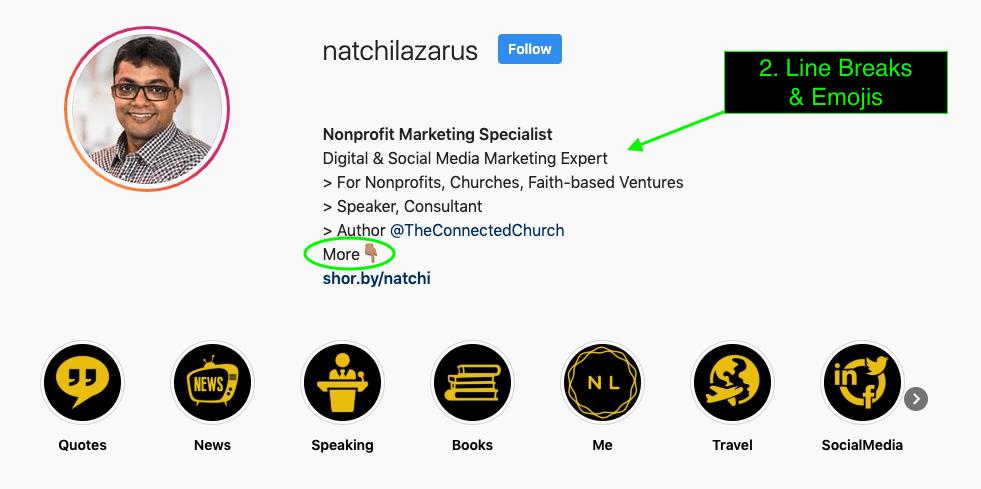 Screenshot of Natchi Lazarus Instagram Bio with Line Breaks Emojis