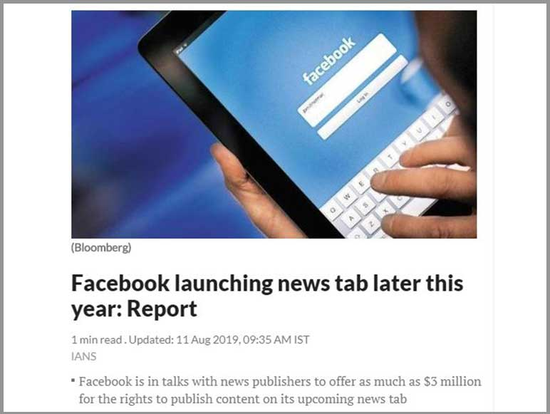 Facebook launching news tab