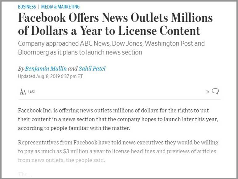 Facebook in talks with top news outlets offering millions for their content