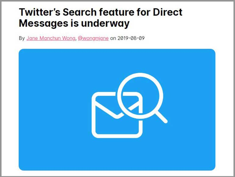 Twitter to have a keyword-based search inside direct message inbox