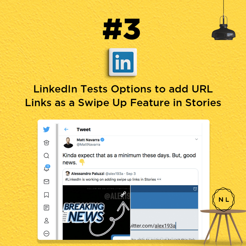 LinkedIn Tests Options to add URL Links as a Swipe Up Feature in Stories