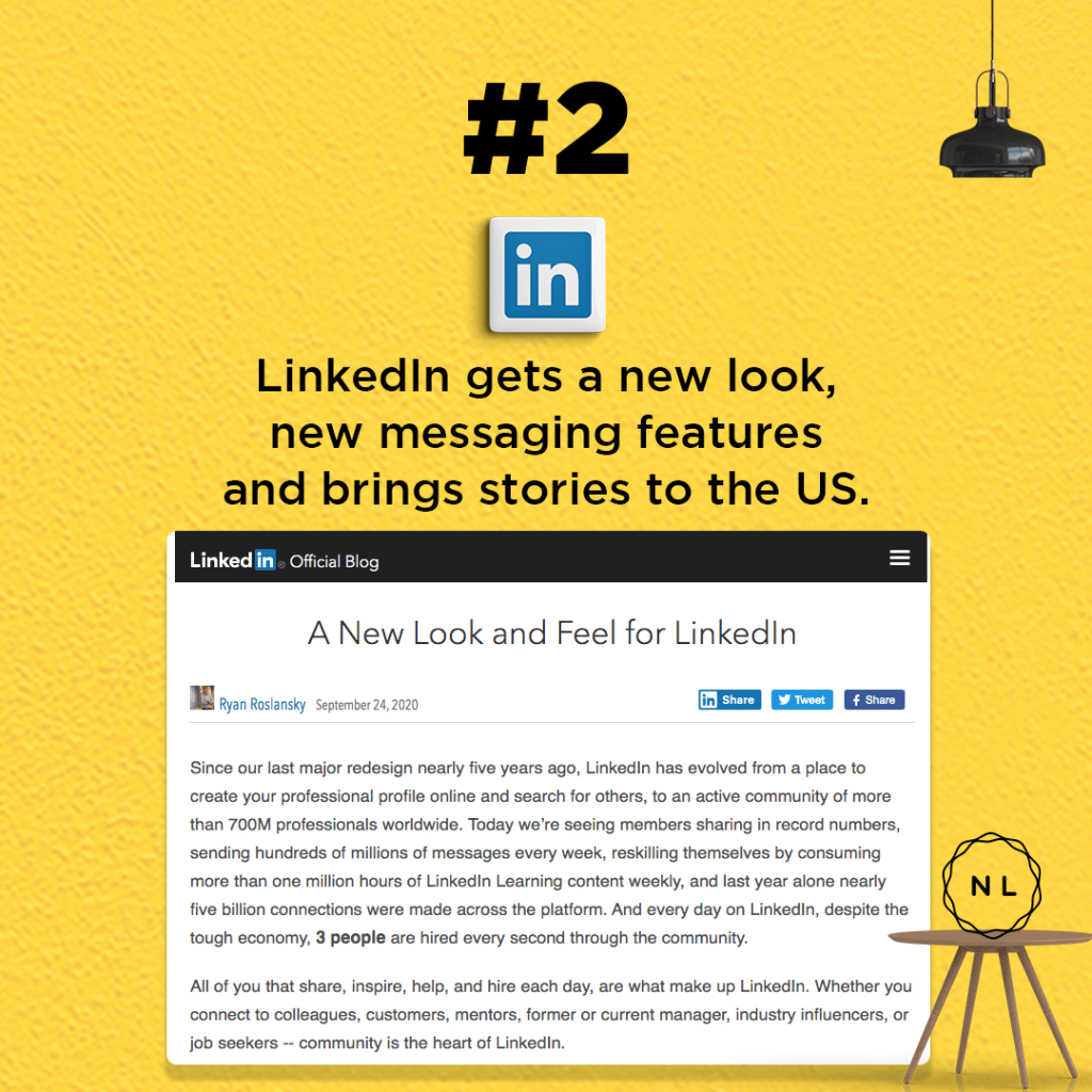 LinkedIn gets a new look, new messaging features and brings stories to the US