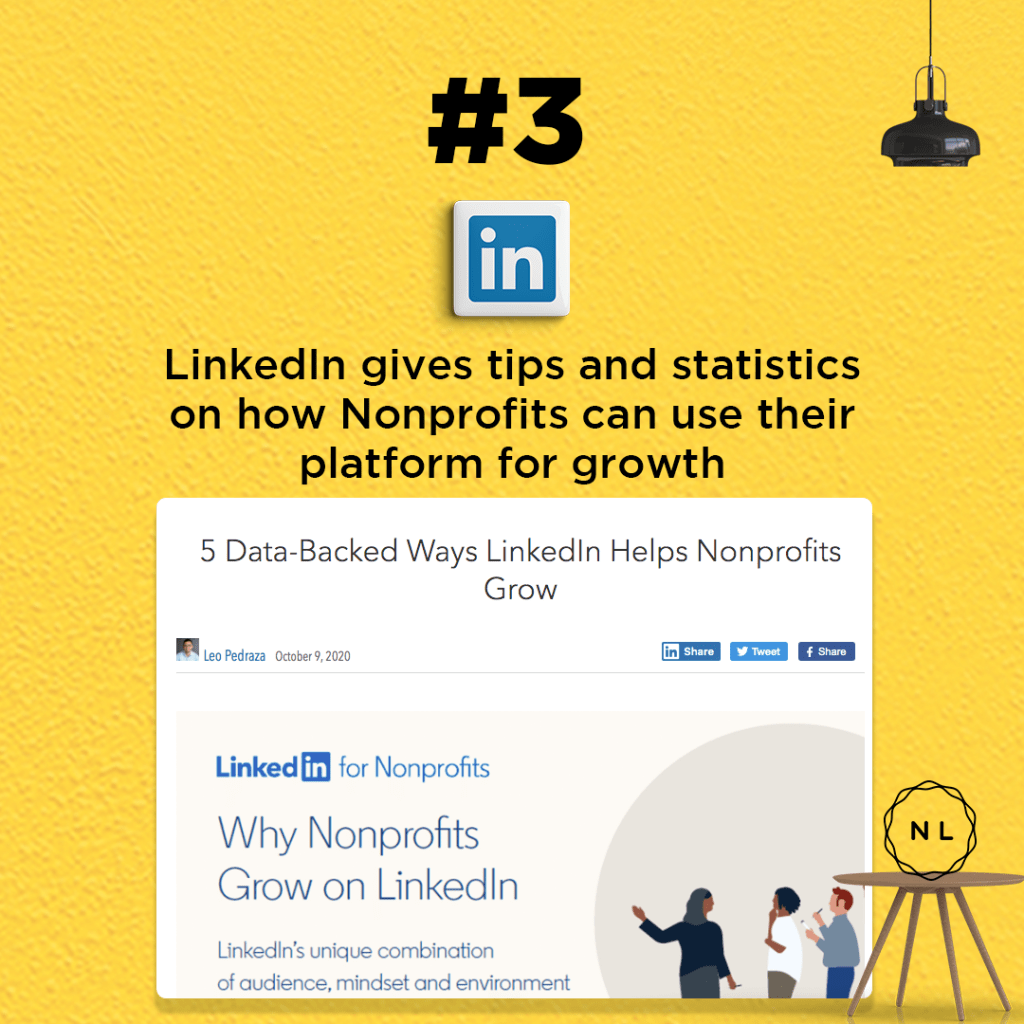 LinkedIn gives tips and statistics on how Nonprofits can use their platform for growth.