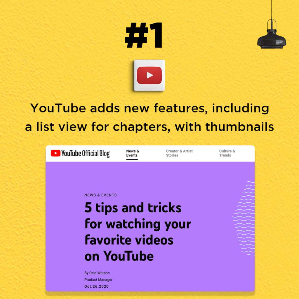 YouTube adds new features, including a list view for chapters, with thumbnails