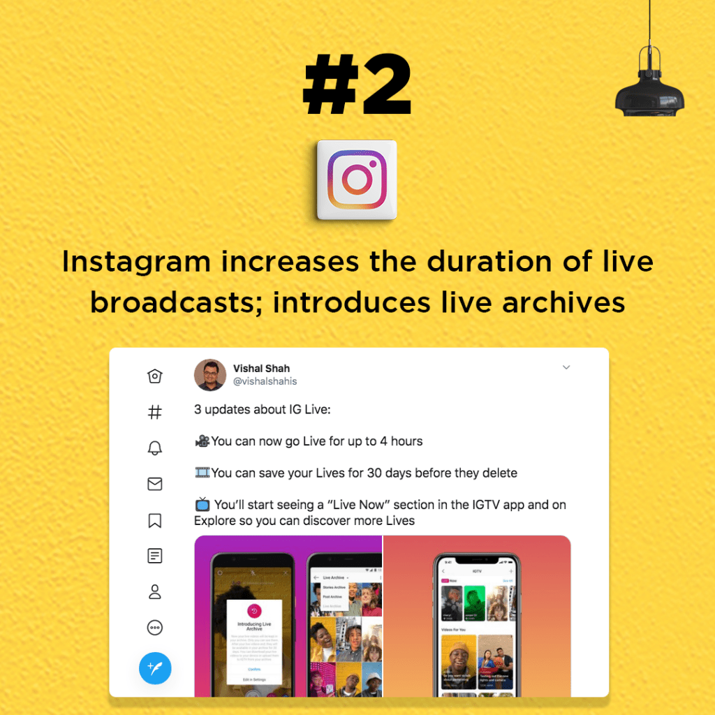 Instagram increases the duration of live broadcasts; introduces live archives