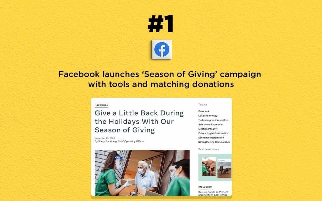Facebook launches 'Season of Giving' campaign: The Connected Church News