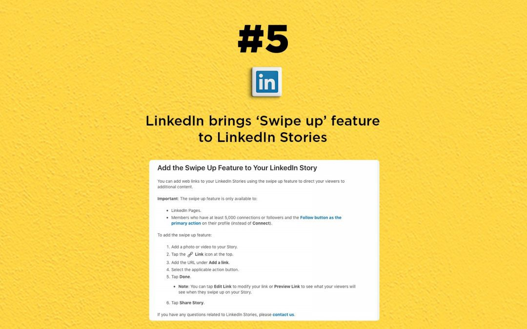 LinkedIn Stories Get Swipe Up Feature: The Connected Church News
