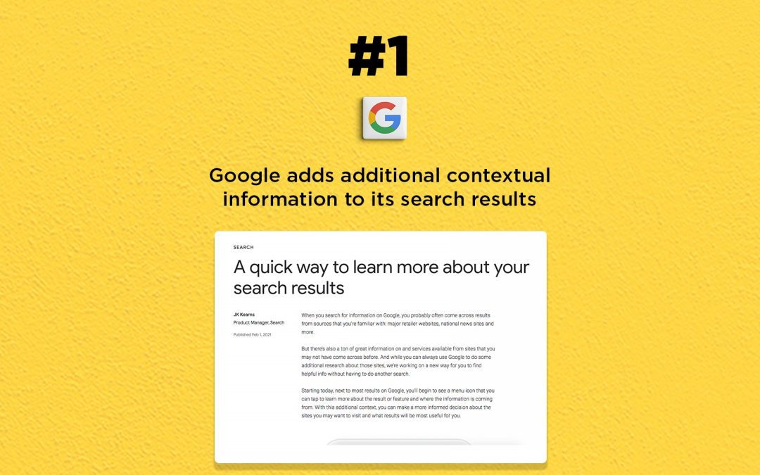 Google search results get contextual info: The Connected Church News
