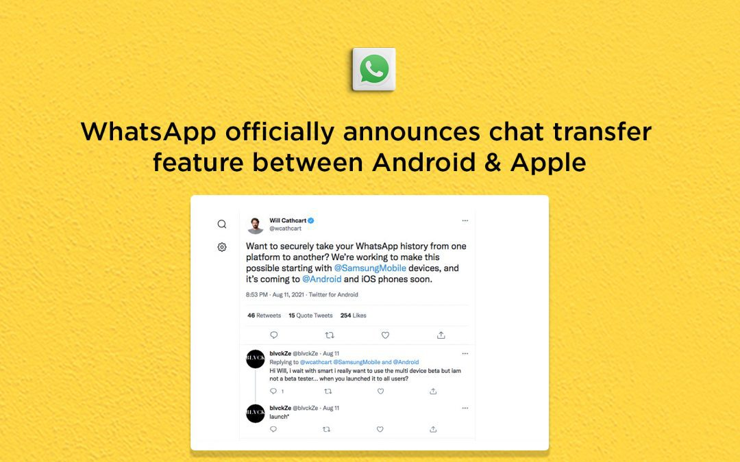 WhatsApp chat transfer between Android & Apple devices coming soon